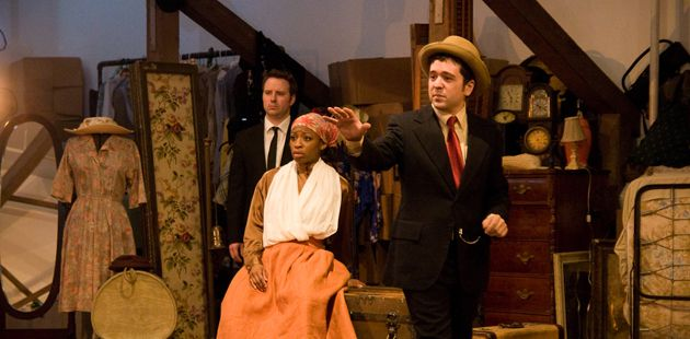 One Day All This Will Be yours: Joe (Zack Calhoon) watches a scene from his family?s past. An angelic messenger (Isaiah Tanenbaum, in hat) paints a vision of the future in America for Rebecca (Bianca LaVerne Jones).