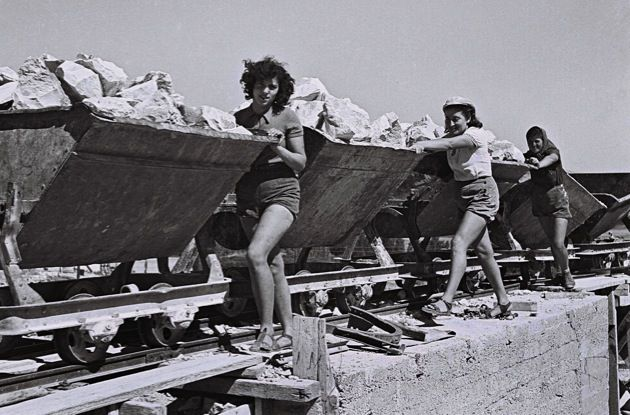 75 Years Ago: Zionists work in the quarry at Kibbutz Ein Harod in British Mandate Palestine.