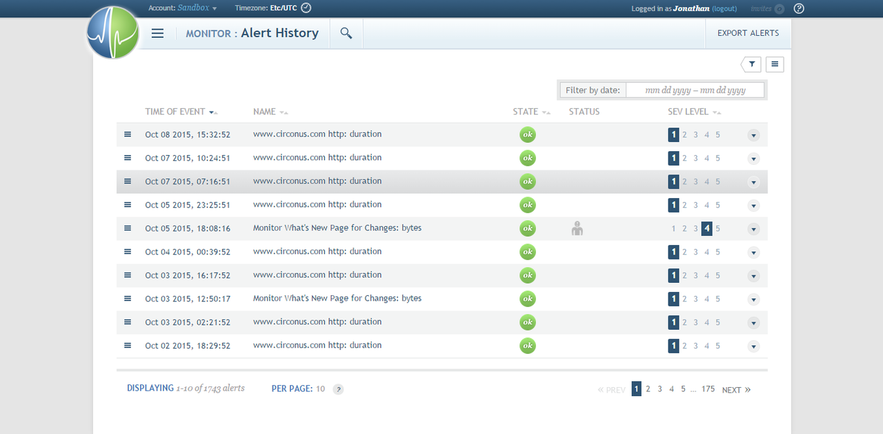 The Alerts History window shows you a rundown of all the alerts sent out by Circonus over a certain period of time.