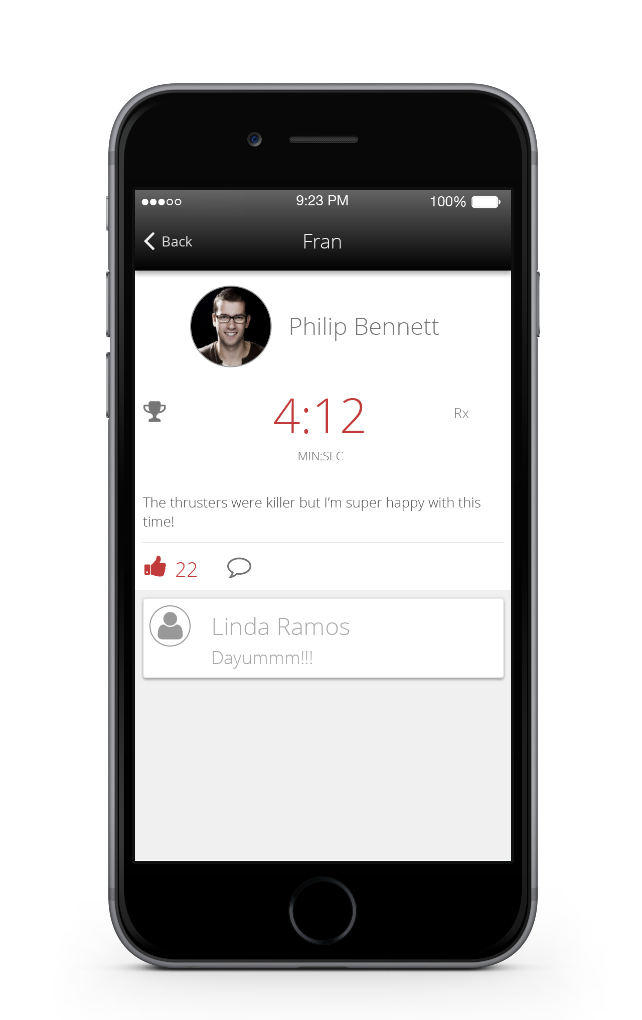 Members can record workout results on their phone