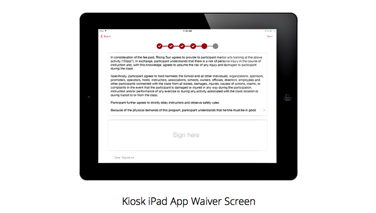 Kiosk iPad App Waiver Screen
