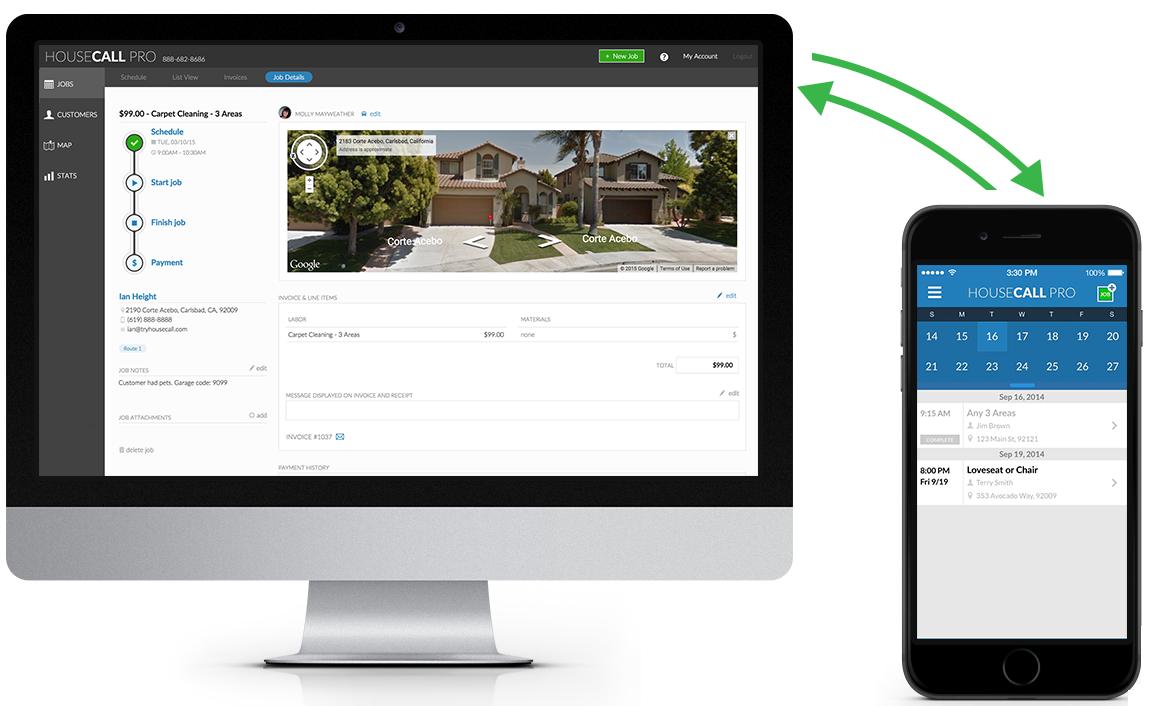 HouseCall Pro lets you manage every aspect of your service business using your smartphone or a web portal.