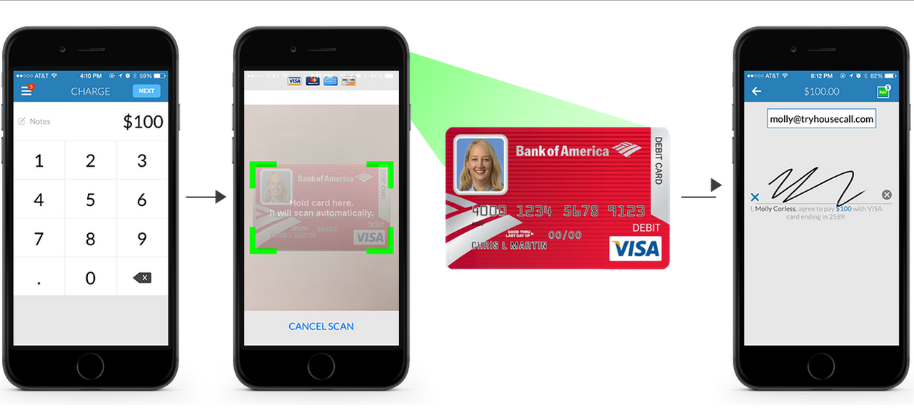 Payments can be processed on site by scanning or keying in the customer's debit/credit card.