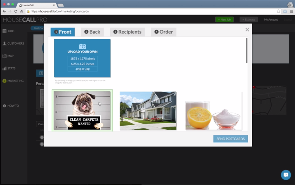 HouseCall Pro allows you to send customers personalized postcards.