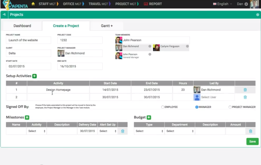 The Create a Project tab in the Projects section of the Project Management module is where managers plan and define their projects, assign deadlines, set up activities, and invite team members.