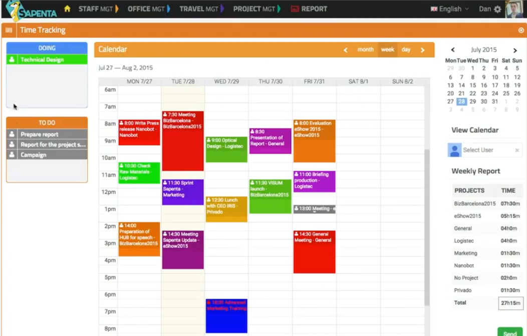 Tasks, events, and activities plotted on your calendar auto-populate your timesheets.