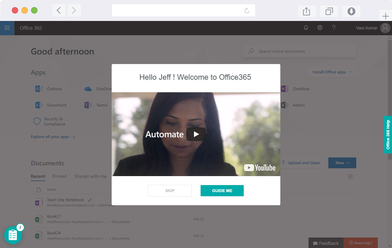 Onboarding video in Whatfix