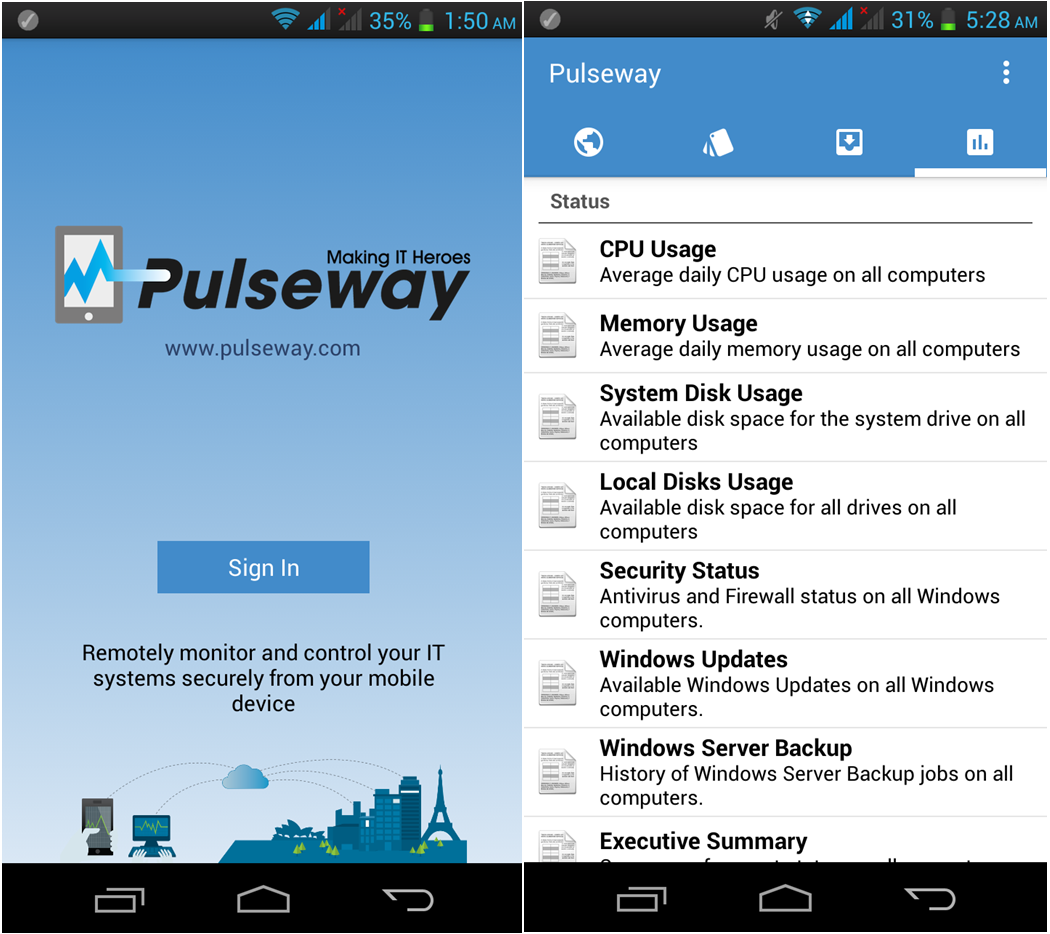 Pulseway is a remote monitoring application that allows IT teams and professionals to manage and control their IT infrastructure whenever, wherever from their smartphones or tablets.