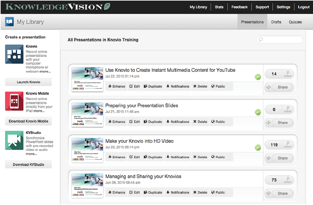Any published Knovio presentation goes straight to your KVCentral library where they can easily be shared and managed.