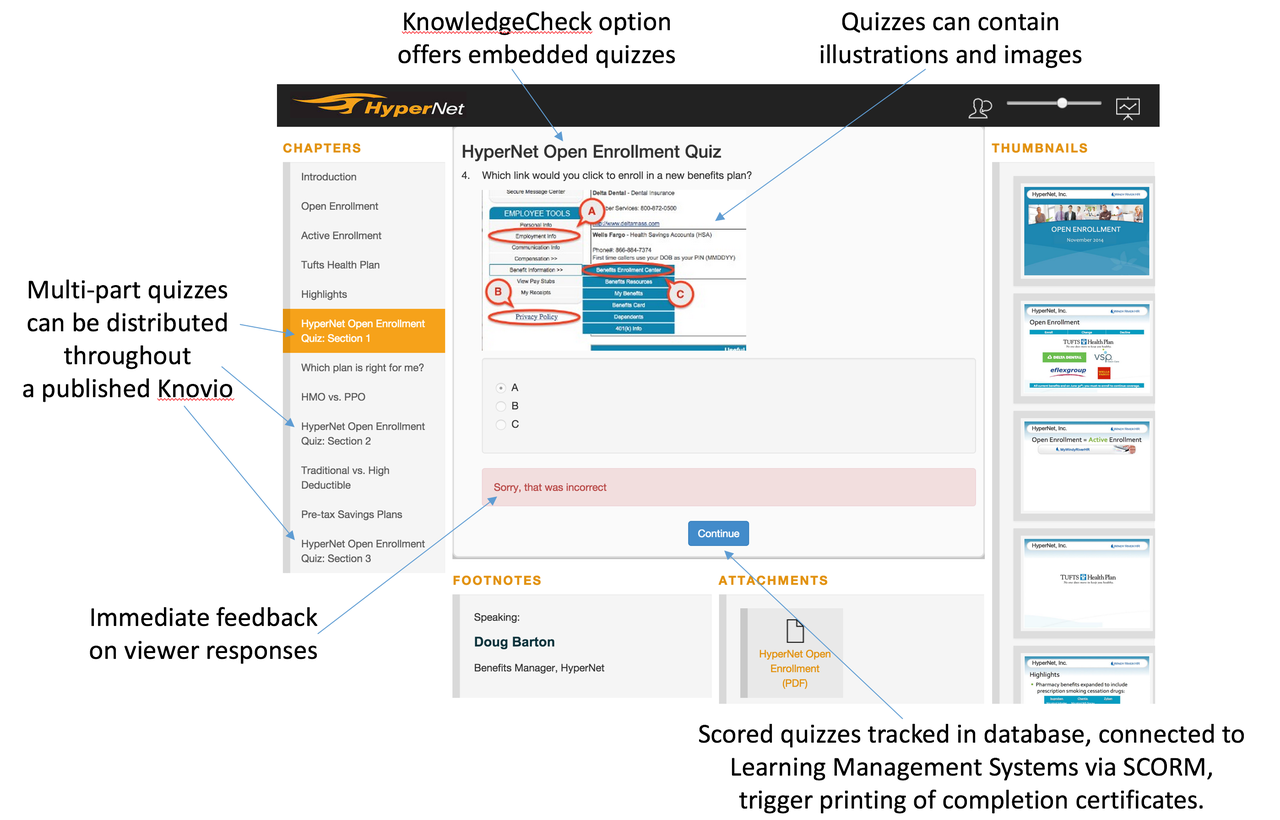 Knovio's KnowledgeChecks option adds quizzes and assessments, detailed viewer-level tracking, guestbook, and SCORM compatibility for learning applications.