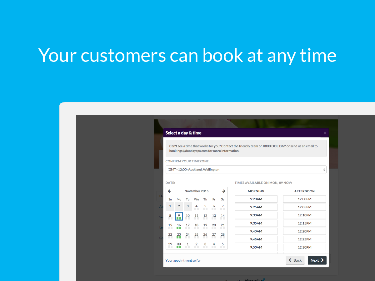 Customers can book at any time with online bookings