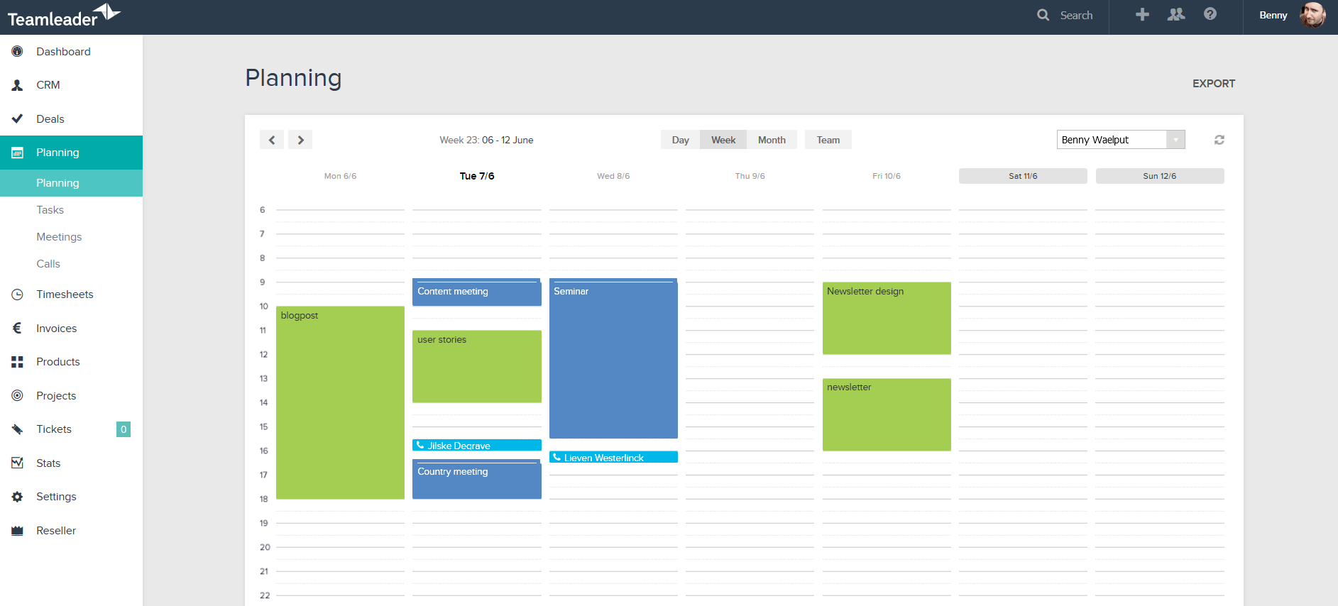 Tasks, meetings, and calls can each be assigned a color code, so you can visualize at a glance the activity types you need done per day, week, or month