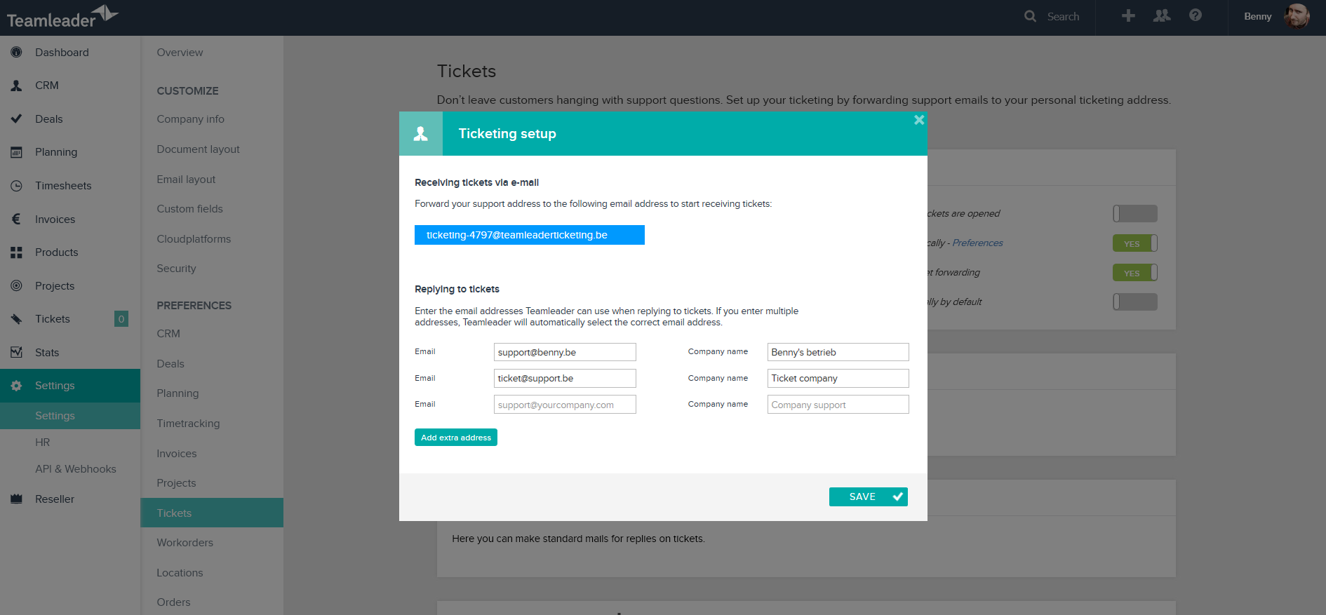 Teamleader's tickets module sends all customer queries and support requests to a single, unified email inbox
