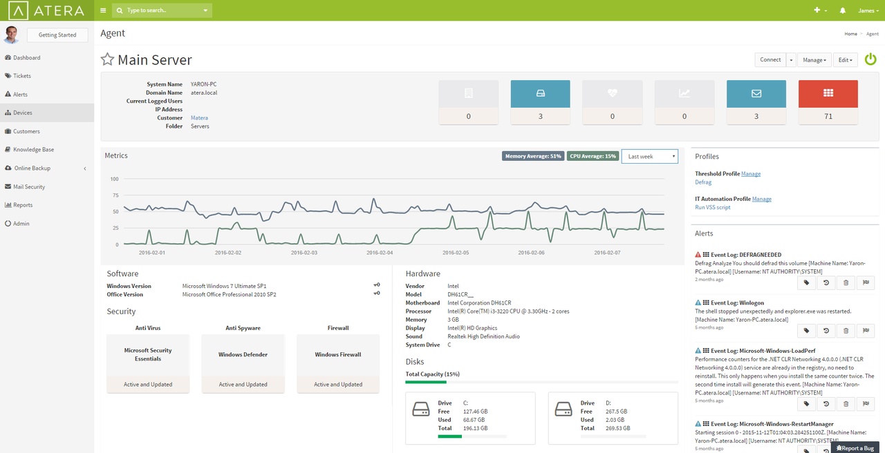 Atera keeps detailed data on each server or workstation you're monitoring.