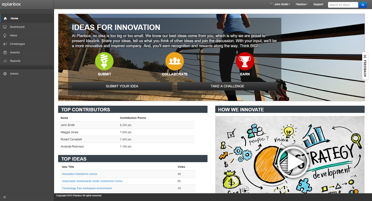 Planbox Innovate comes with a user interface that's easy to use and can be as comprehensive as you need it to be.