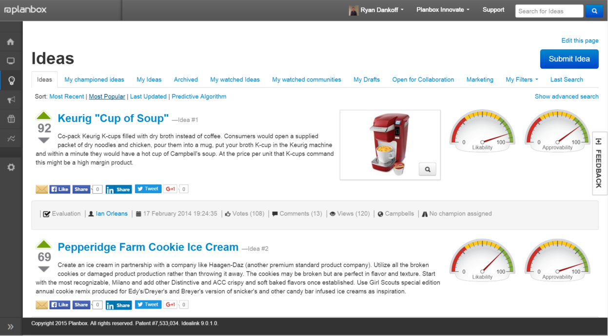The software has an idea search functionality that allows you to quickly search for ideas using filters.