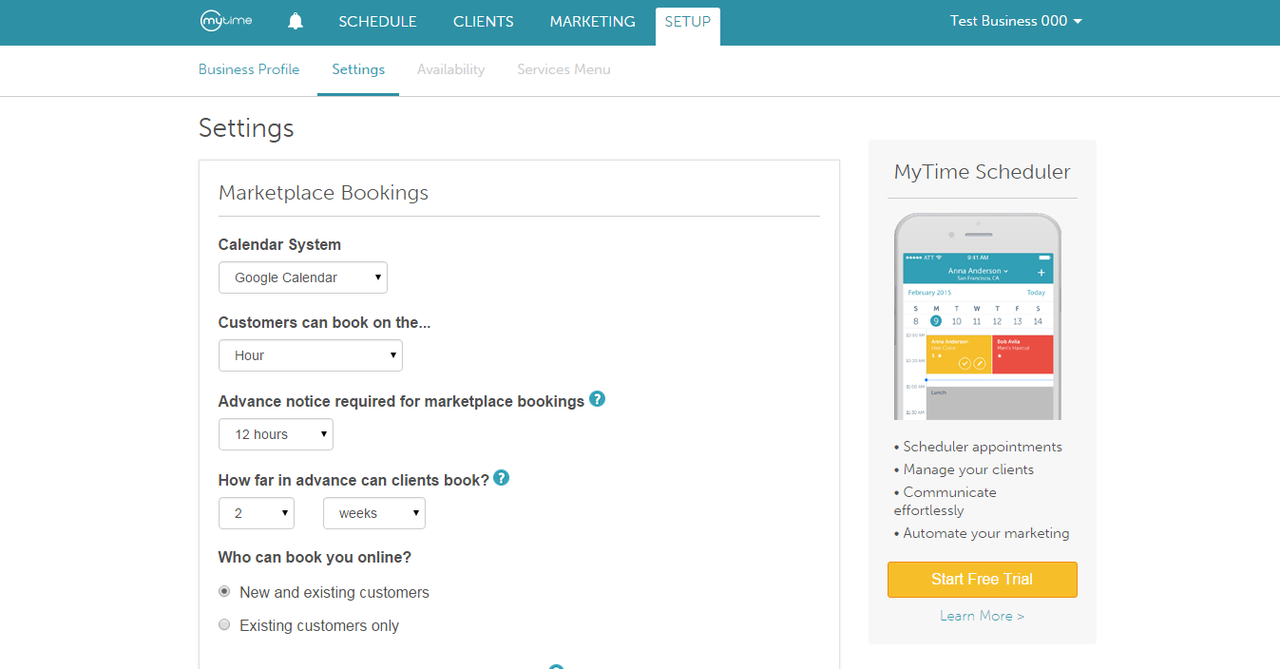 MyTime lets you manage your whole business on the web, and on Android and iPhone apps.
