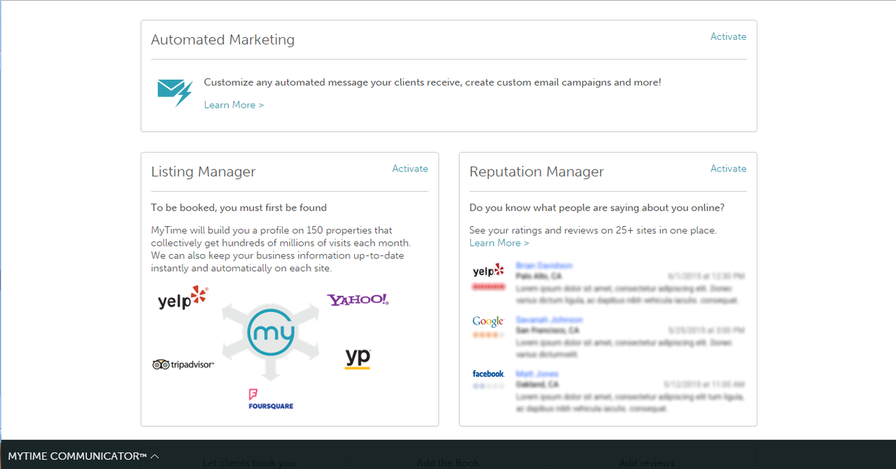MyTime Marketing combines email and SMS marketing, listing management, marketing automation, and reputation management.