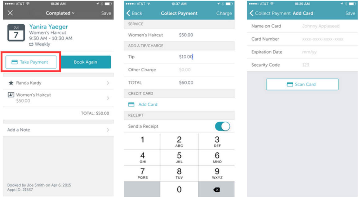 MyTime POS processes payments for appointments and products.