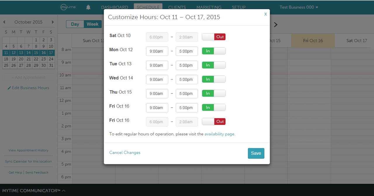 MyTime's simple layout gives you full control over your schedule, availability, and prices.
