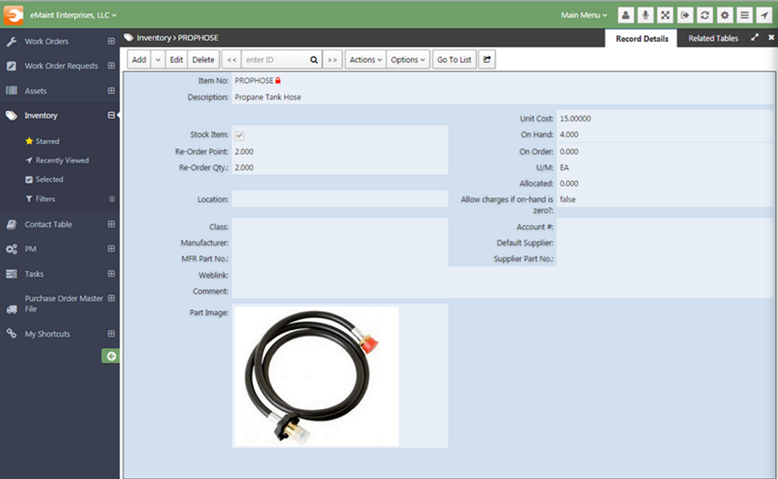 The inventory management module keeps track of all your parts, components, and subcomponents.