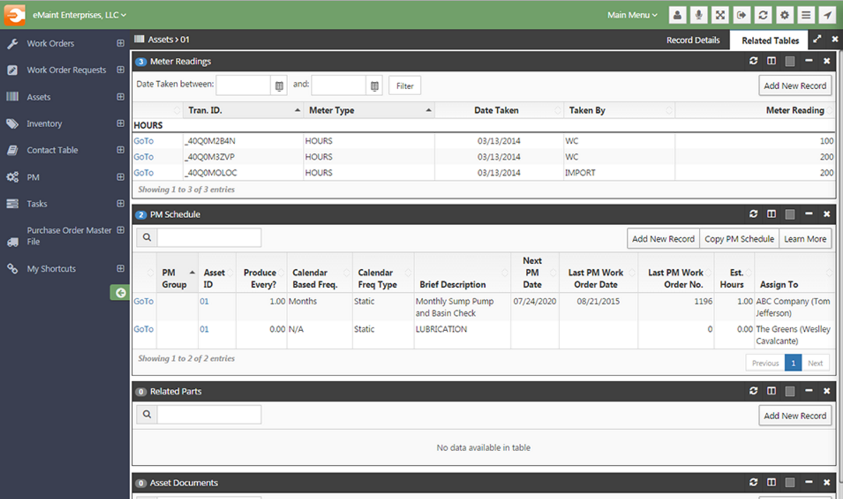 Asset particulars, such as meter readings and PM schedules, are consolidated in a single view for easier monitoring.