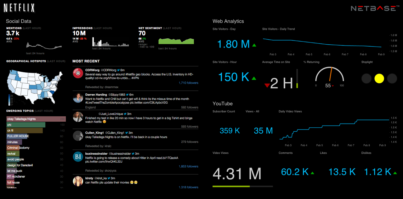 NetBase's LIVE Pulse provides all the metrics that matter to you in one screen.