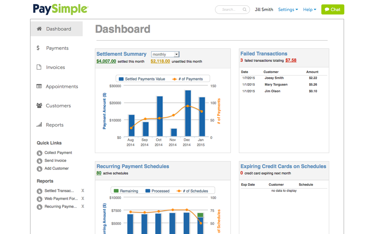 PaySimple comes with an intuitive, easily navigable user interface.