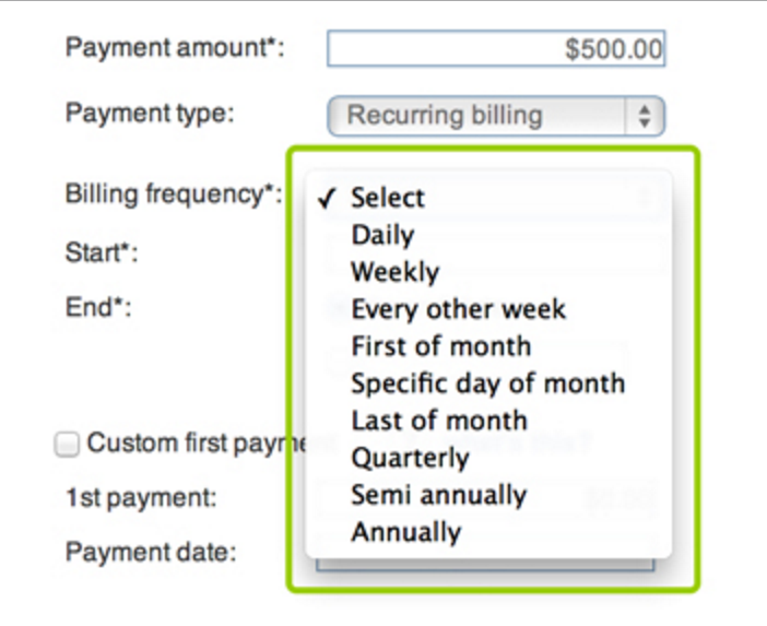 Recurring billing frequency can be as frequent as daily or occasional as yearly.