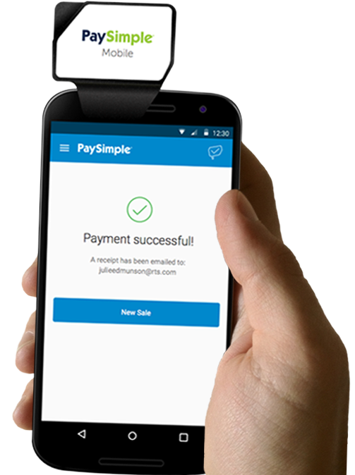 The PaySimple mobile card reader lets you accept in-person payments wherever the customer may be.