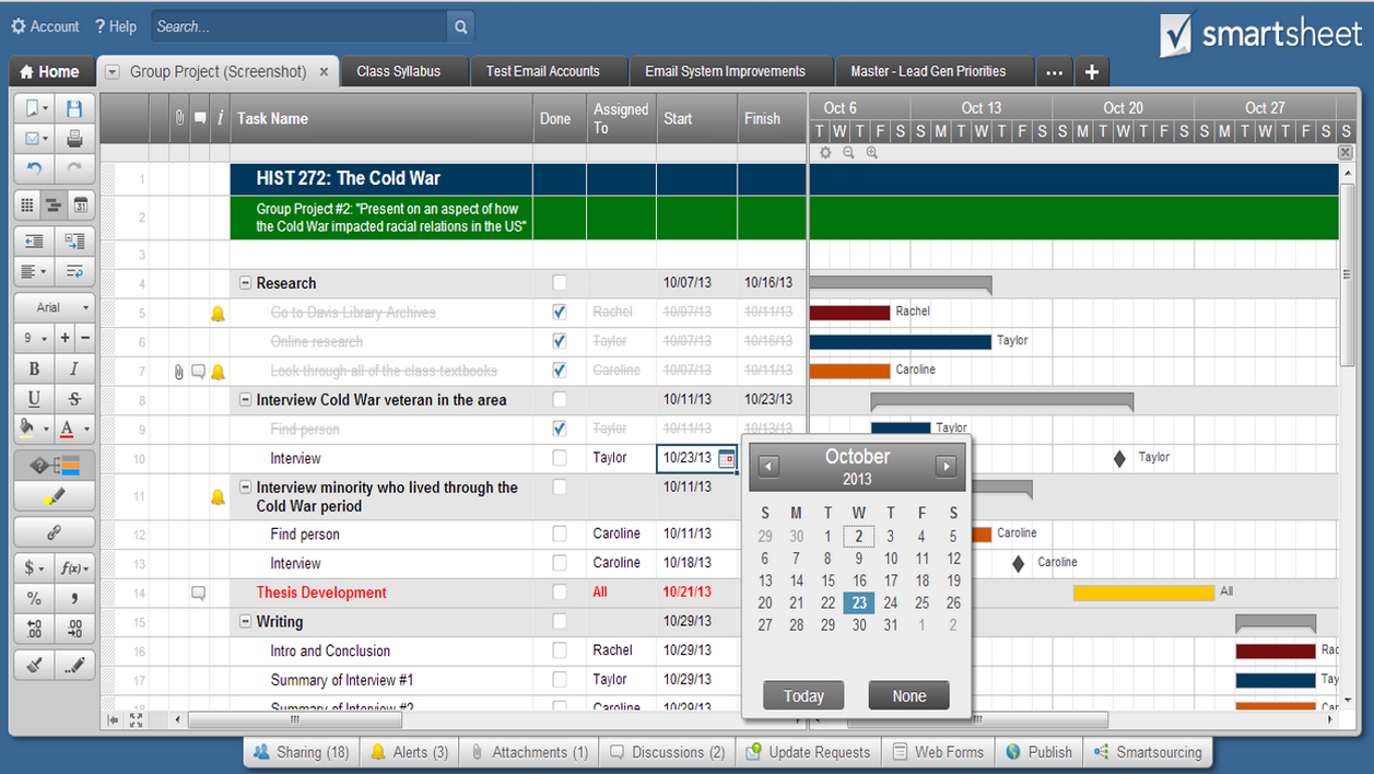 Smartsheet Gantt charts make it easy to visualize how a project is progressing and how tasks are related to each other.