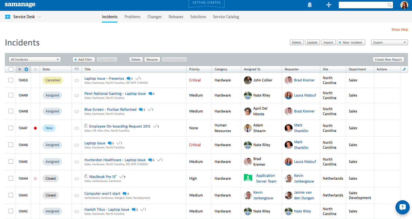 Samanage service desk overview.
