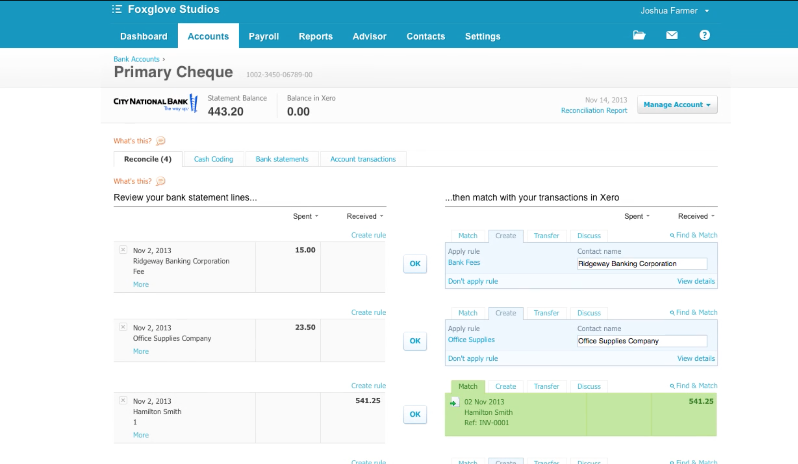 Bank Reconciliation in Xero