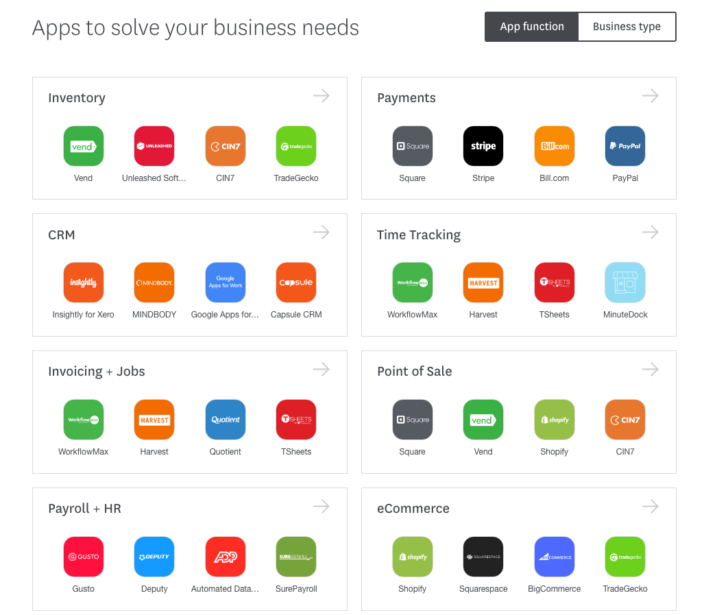 Xero's add-on marketplace