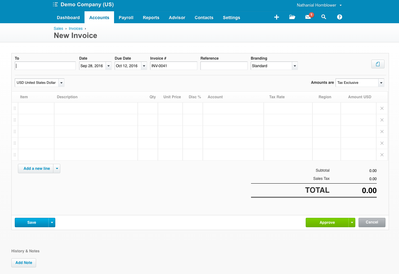 Invoicing in Xero