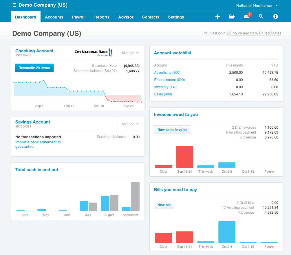 Main Xero dashboard