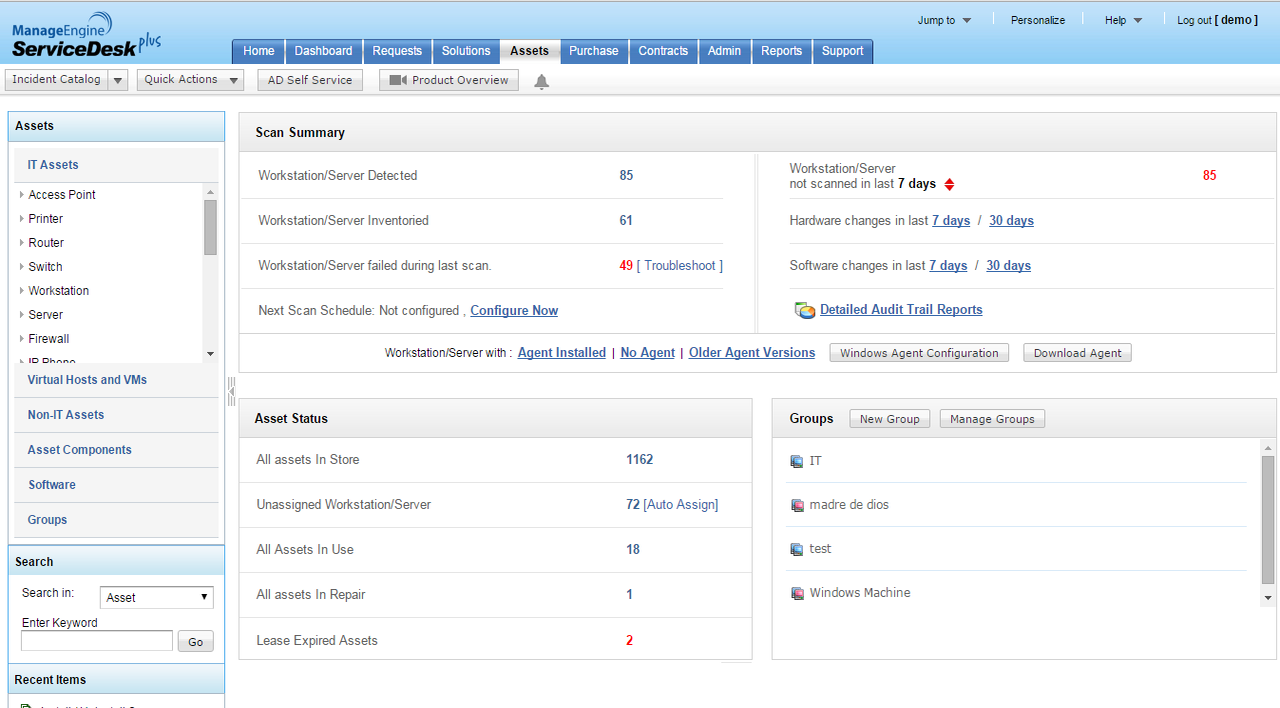 The Assets tab provides essential data on all of your assets - IT, non-IT, virtual hosts, software, and groups.