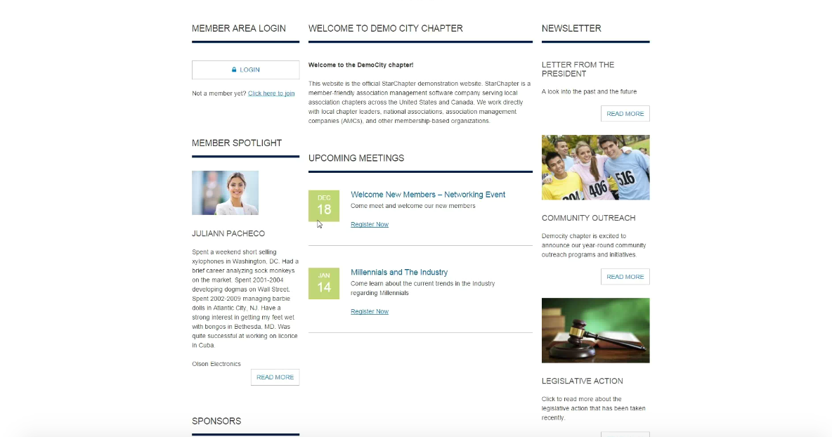 StarChapter is tailored to the needs of member organizations, sample site