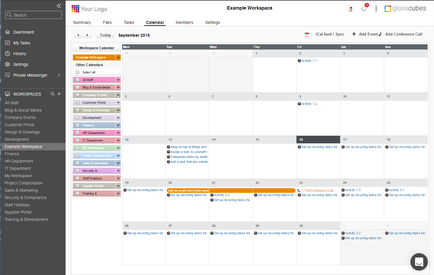 Shared and private calendars