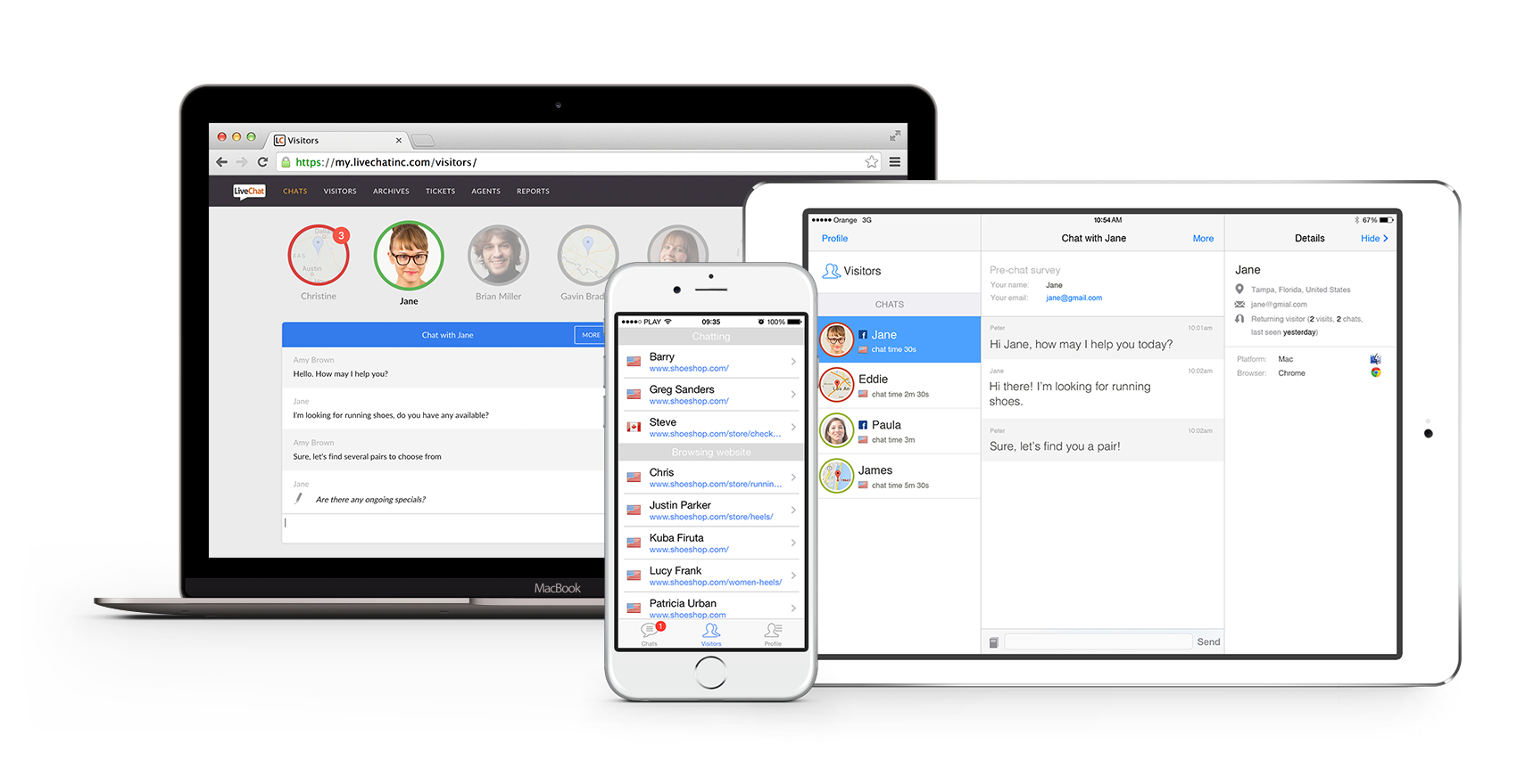 LiveChat can be used through web browser or dedicated desktop and mobile apps