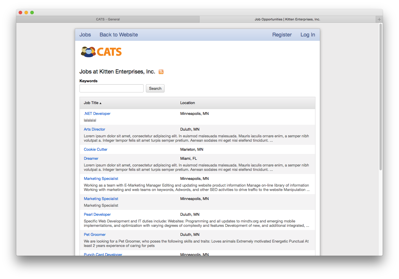 CATS' career portal can be customized to work seamlessly with the rest of a business's website.