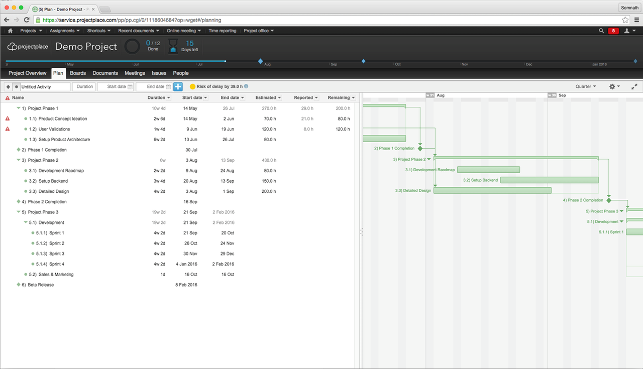 Gantt charts show task timelines and dependencies in a visual and easy-to-digest format.