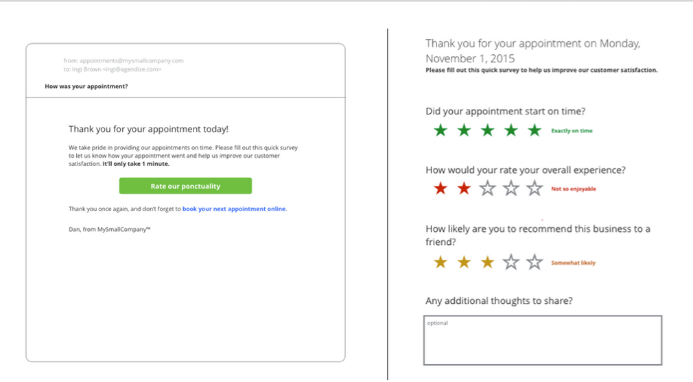 Satisfaction survey forms can be created and sent to customers to better understand how to improve your services.