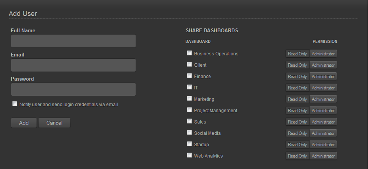 Dashboards can be shared with Cyfe users, and their access permissions for each dashboard can vary. For non-users, public links can be generated.