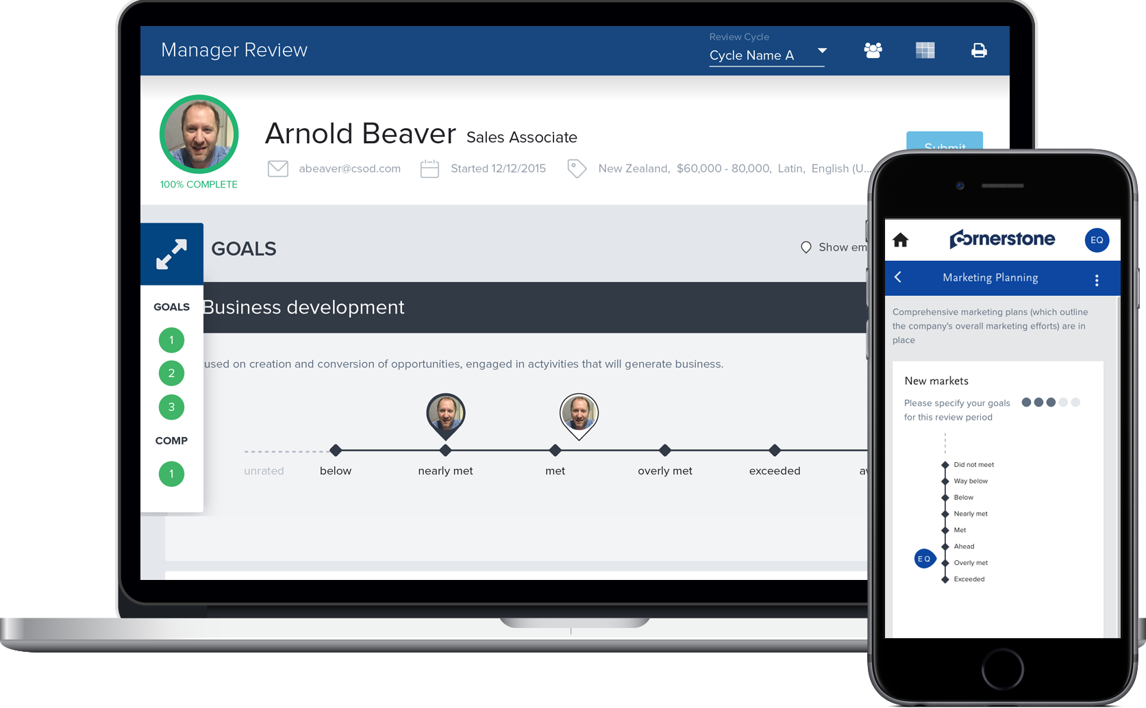 Cornerstone Growth Edition allows managers to create, track and manage goals for individual employees and teams.