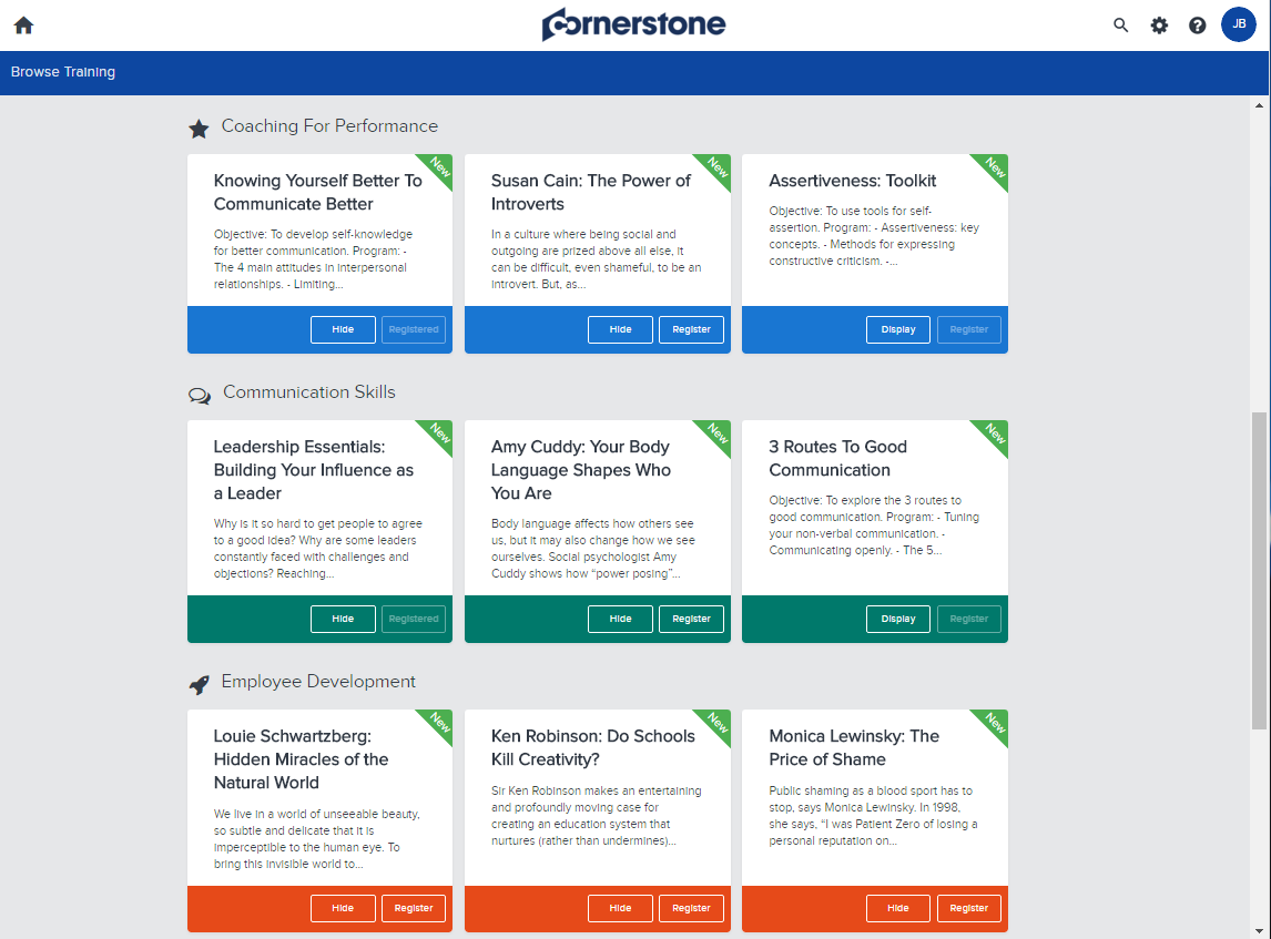 Cornerstone Growth Edition provides a flexible learning platform where learners select from various courses in their library, which are all accessible on mobile, tablet, or desktop.