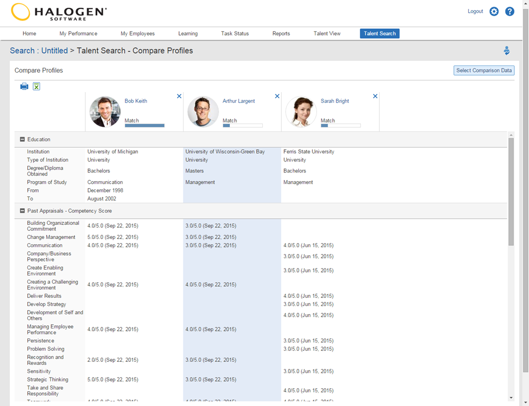 Halogen Software is a multi-featured talent management solution. It has an employee directory that allows you to easily search for employees based on certain criteria.