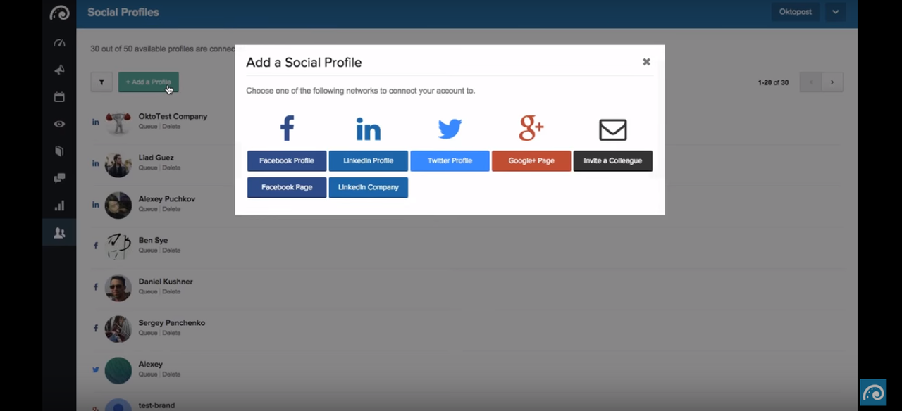 Oktopost lets you add multiple social profiles and pages from the major social networks.