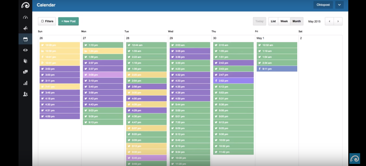 The content calendar simultaneously displays all of your past and future messages for each of your campaigns.