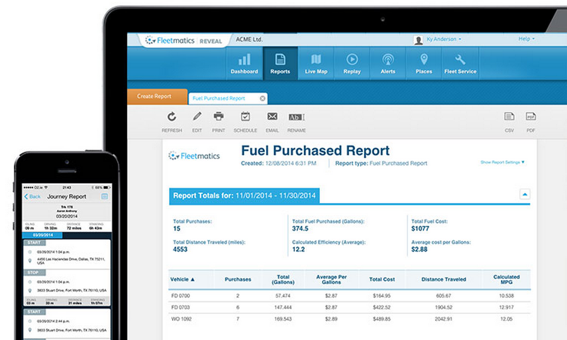 Fleetmatics REVEAL's fuel reports keep you on top of your fuel spending and provide insights into how to maximize fuel efficiency.